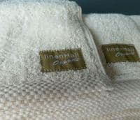 linenHall 500gsm Combed Organic Cotton Face Cloths Natural Unbleached